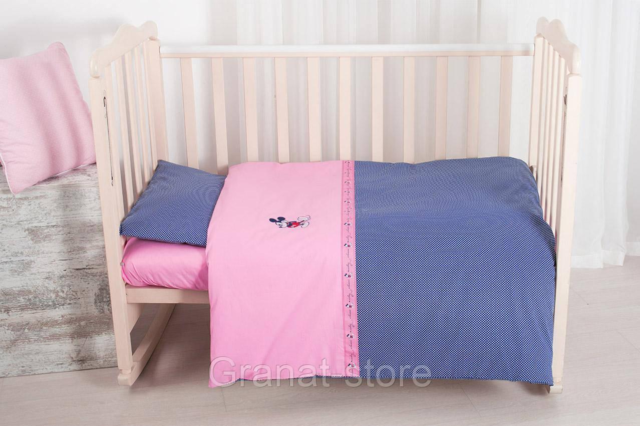 """Комплект постельного белья в кроватку """"Горошек-синий"""""""