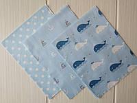 Набор сатина для рукоделия Морской (3 отреза 40*50 см) , фото 1