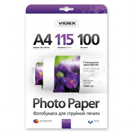 Videx Фотобумага HGA4 115/100 глянцевая 100 листов