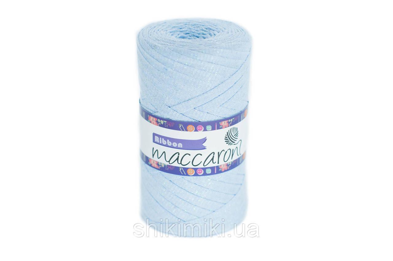 Трикотажный плоский шнур Ribbon Glitter,цвет Светло-голубой