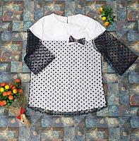Детская блуза с рукавом сеткой 3\4 белый+черный р. 116-134