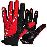 Велоперчатки PowerPlay 6556-C летние длинный палец черно красные Размер XL