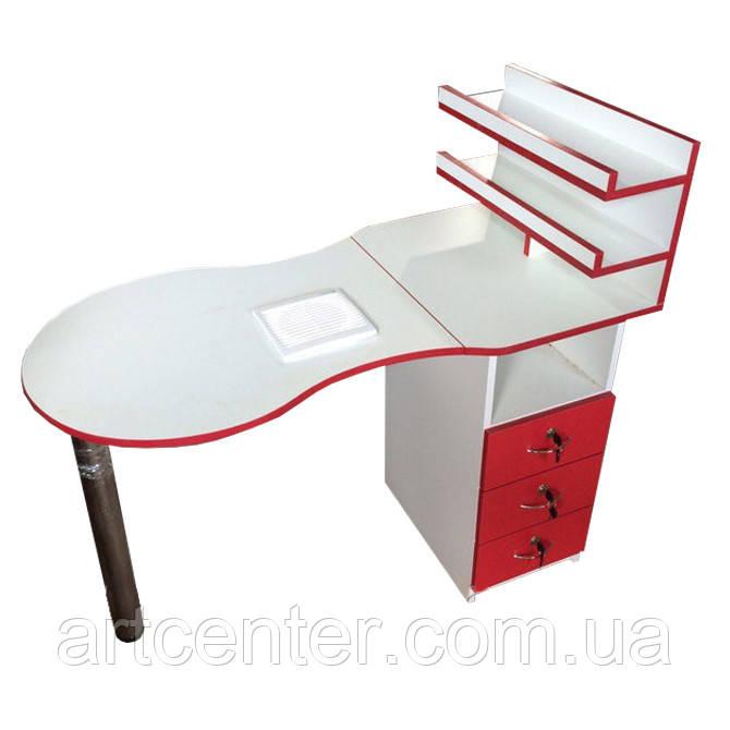 Маникюрный стол  с вытяжкой красный с белым, слкадной, однотумбовый