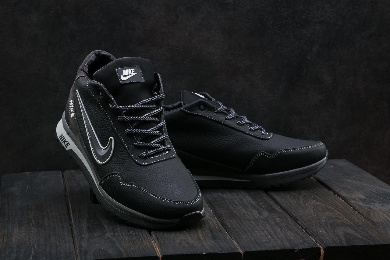 Кроссовки CrossSAV 22 (Nike) (зима, мужские, кожа, черно-серый)