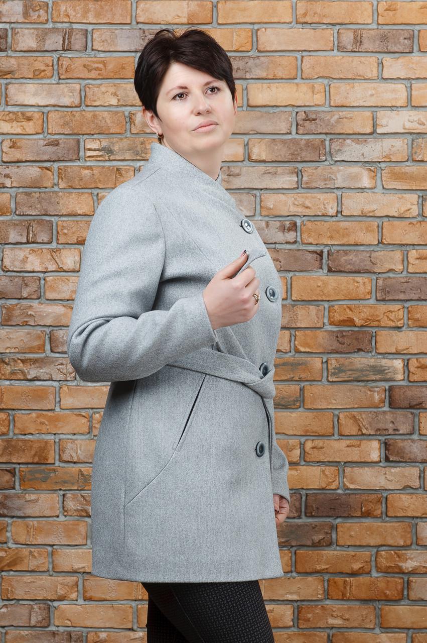 Пальто весеннее Керол батал светло- серое