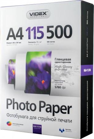 Videx Фотобумага HGA4 115/500 глянцевая 500 листов