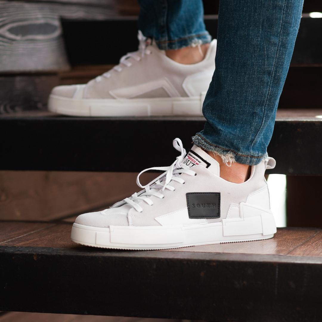 Мужские кроссовки South Extreme white. Натуральная замша