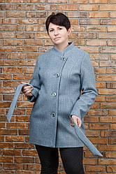 Пальто весеннее Керол батал серое 52