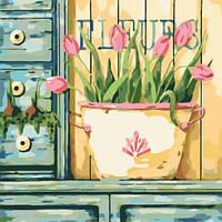 Картина по номерам Розовые тюльпаны КНО2028 Идейка