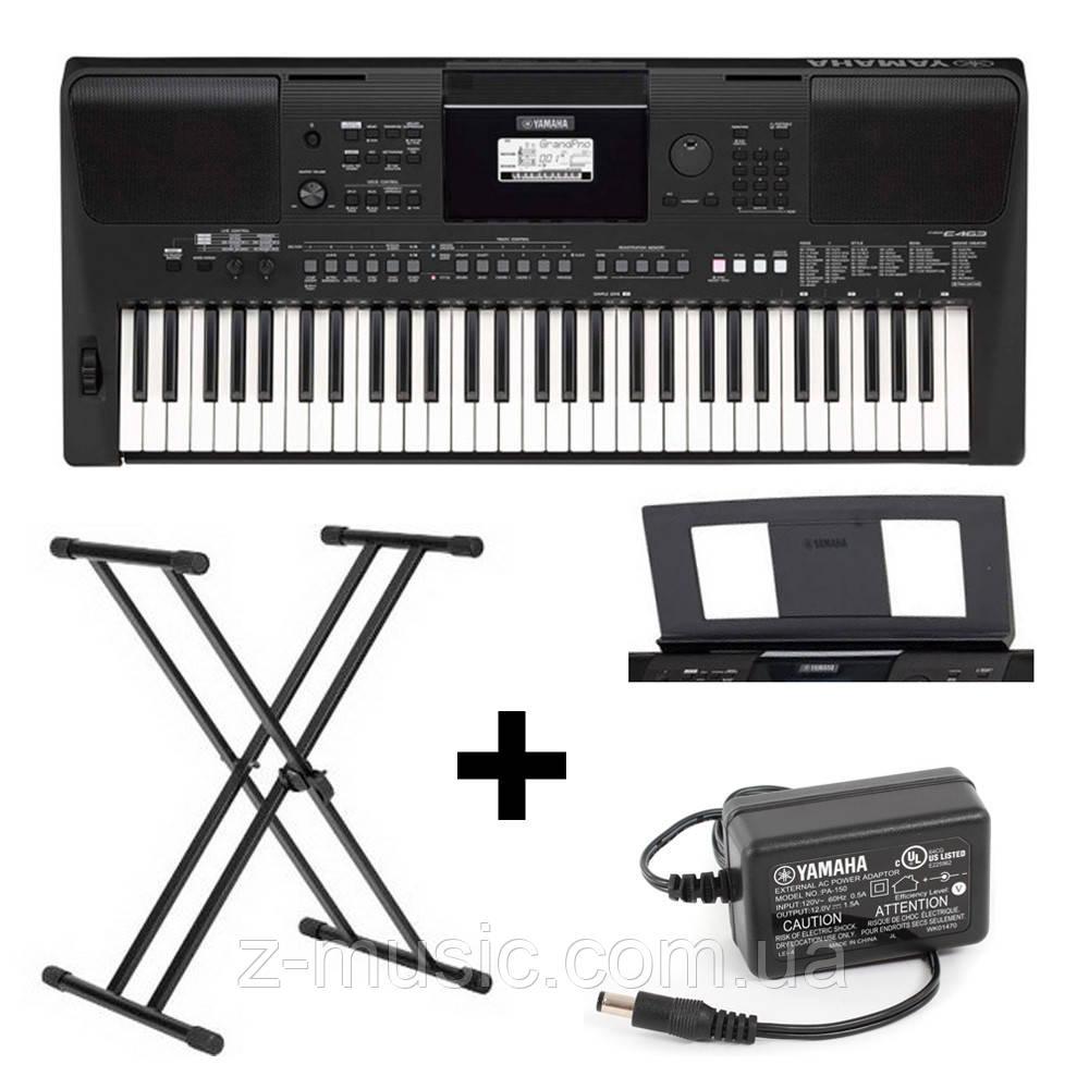 Синтезатор Yamaha PSR-E463 (стойка, пюпитр, блок питания)