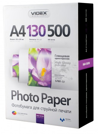 Videx Фотобумага HGA4 130/500 глянцевая 500 листов