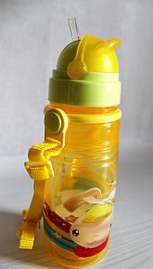 Детская поилка - непроливайка с ремешком и силиконовой соломинкой. Желтая