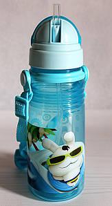Детская поилка - непроливайка с ремешком и силиконовой соломинкой. Голубая