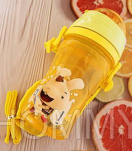 Детская бутылочка непроливайка для воды с ремешком. Желтая