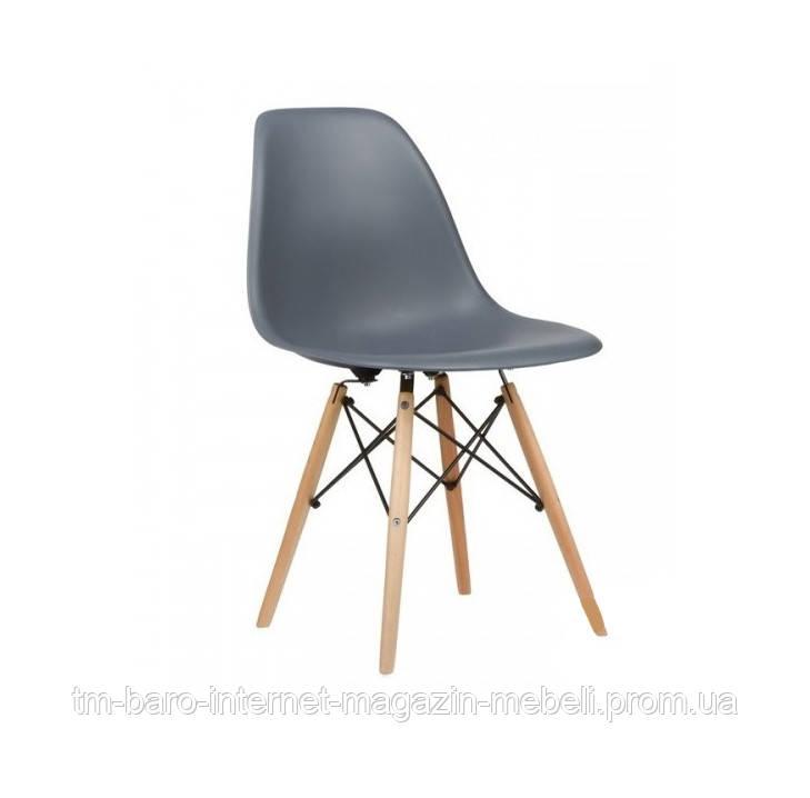 Стул Тауэр Вуд темно-серый пластик, ножки дерево (Прайз), Eames