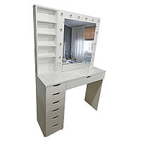 Стол для визажиста/парикмахера с гримерным зеркалом, полочками слева и стеклом на столешнице