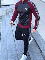 Спортивный костюм Emporio Armani D6378 черно-бордовый