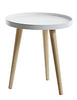 Столик приставной круглый белый  диаметр 40 см, фото 1