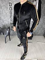 Спортивный костюм Fendi D6460 велюровый черный