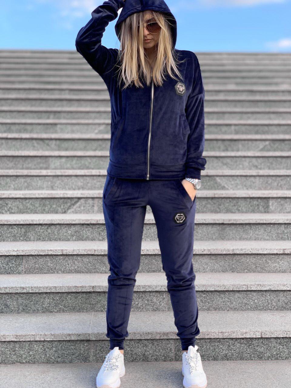 Спортивный костюм жеснкий Philipp Plein D6330 велюровый темно-синий