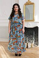 Длинное летнее платье из шифона. Большие размеры