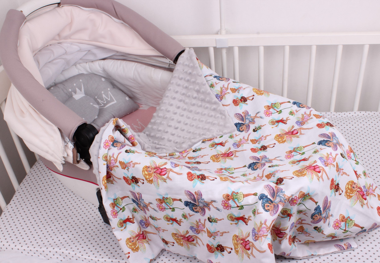 """Комплект в коляску для новорожденного """"Короны и феи"""""""