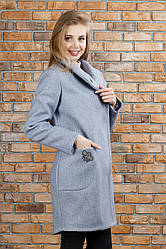 Пальто трендовое Полли цвет темно- серое 44
