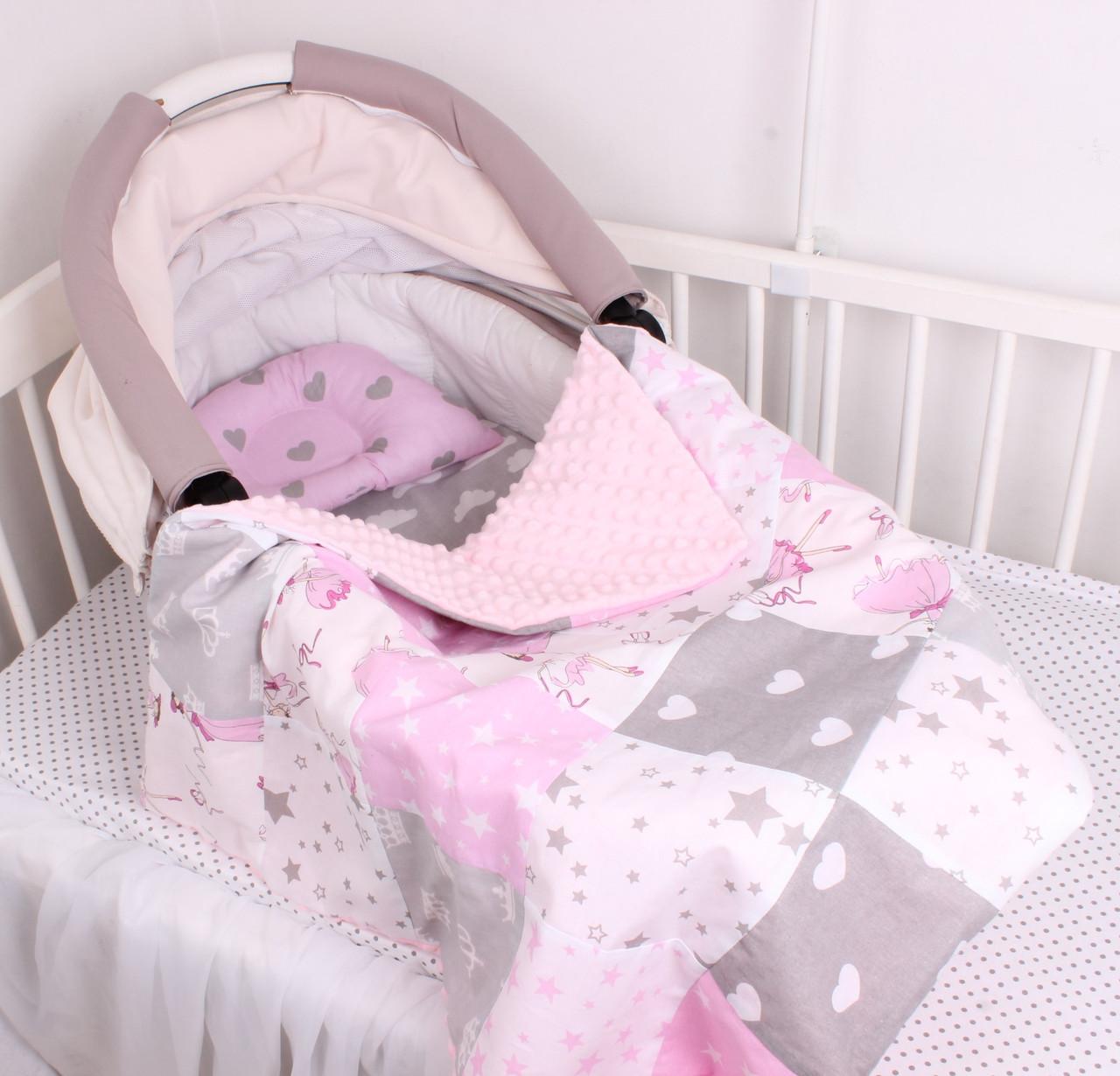 """Комплект в коляску для новорожденного """"Балерины и сердца"""""""