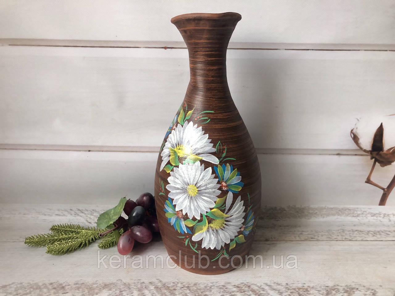 Глиняная ваза с рисунком хризантемы 3 л