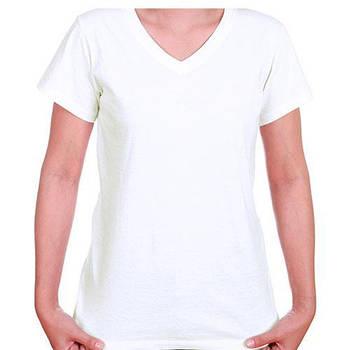 Женская двухслойная футболка V-вырез размер S
