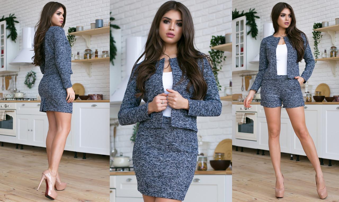 Костюм тройка пиджак, шорты, юбка в расцветках 702133