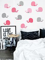 Наклейка интерьерная для детской Набор кит  (виниловый стикер самоклеющийся, декор детской комнаты)