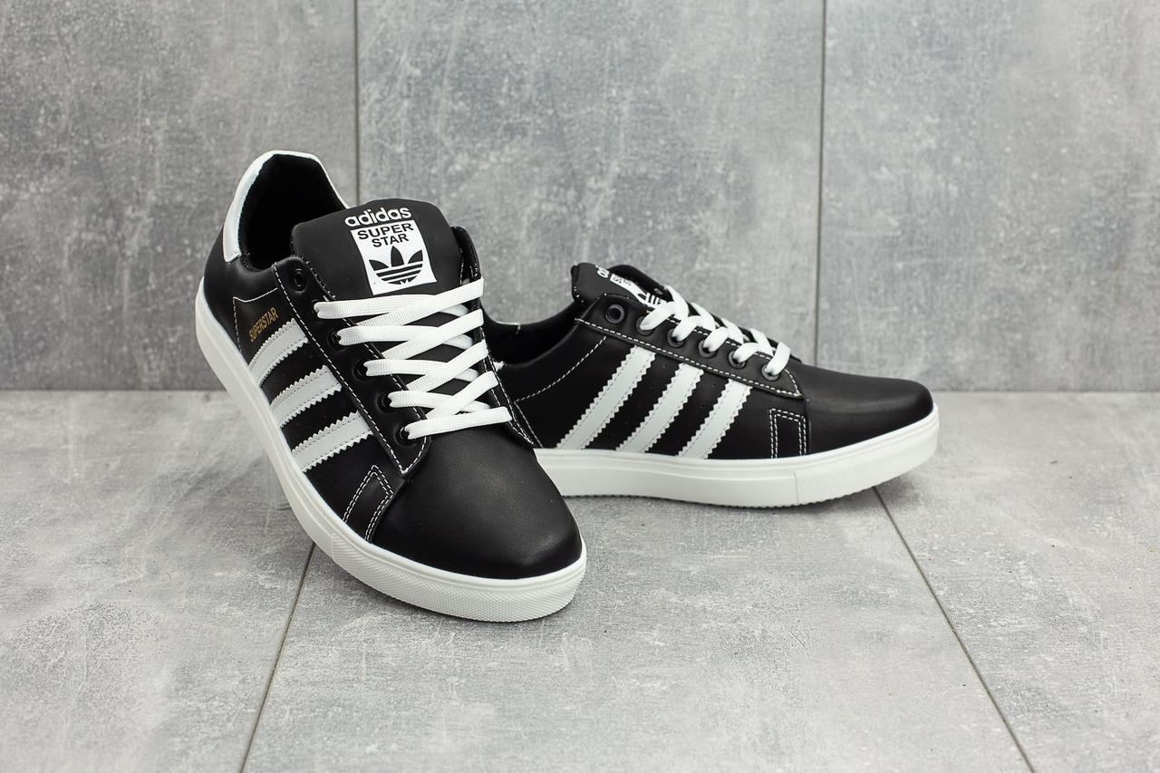 Кеды CrosSAV 112 (Adidas Super Star) (весна/осень, мужские, натуральная кожа, черно-белый)