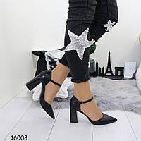 Черные туфли - босоножки из эко-кожи
