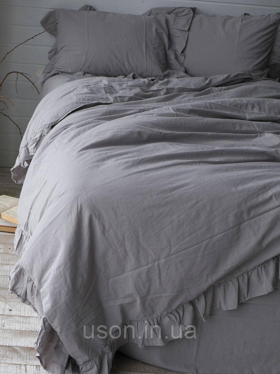 Комплект постельного белья из вареного хлопка  размер евро LIMASSO OPAL GREY EXCLUSIVE