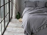 Комплект постельного белья из вареного хлопка  размер евро LIMASSO OPAL GREY EXCLUSIVE, фото 2