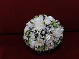Набор свадебных аксессуаров в айвори (молочном) цвете (букет-дублер, бутоньерки, подвязка), фото 2