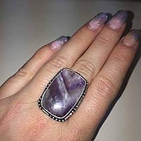 Аметист кольцо с натуральным камнем аметист в серебре. Кольцо с аметистом размер 17,5 Индия, фото 1