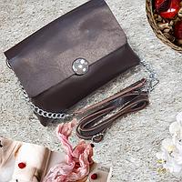 Женская маленькая сумка шоколад натуральная кожа, фото 1