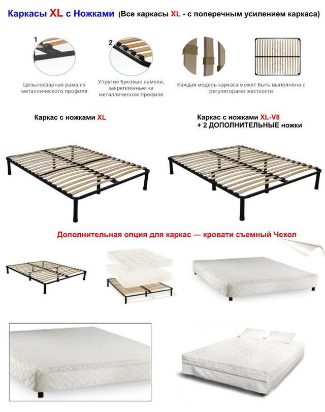 Каркас кровать с ножками XL-V8( + 2 дополнительные ножки) фото 2