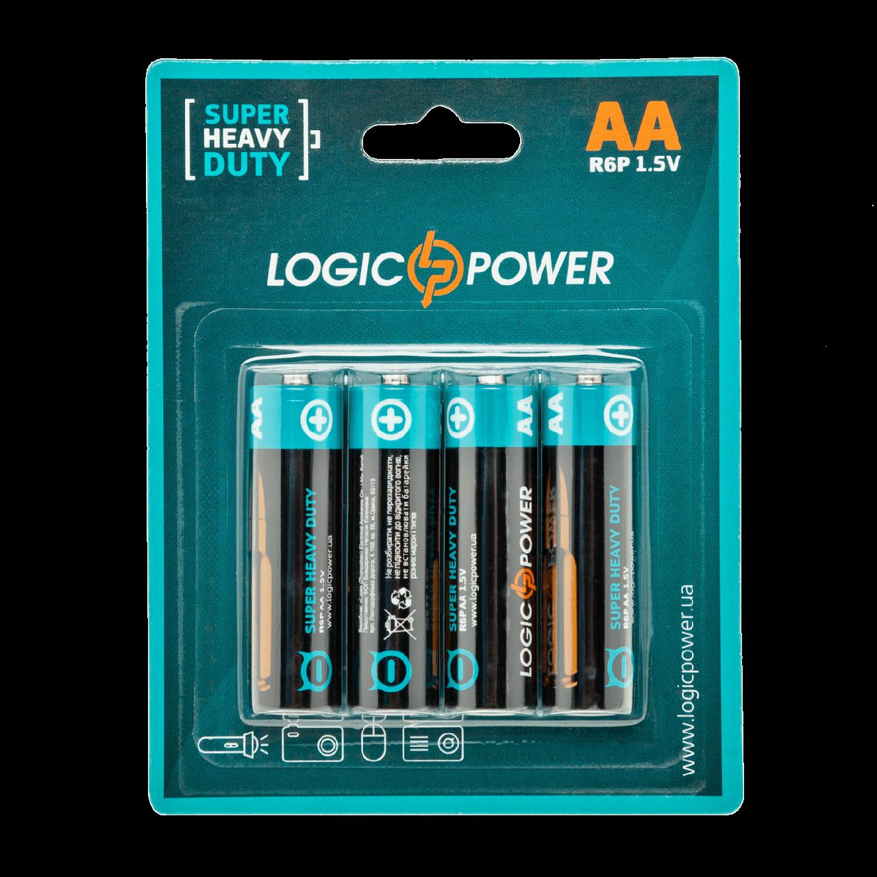 Батарейка LogicPower Super heavy duty AA R6P _ бл 4шт (LP3167)
