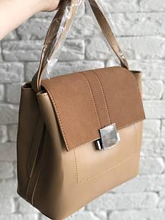 Женская сумка с серебристой фурнитурой, из искусственной кожи и искусственной замши