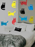 Наклейка декоративная на обои Набор коты 1  (виниловая пленка самоклеющаяся, разноцветные кошки, животные)