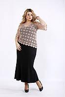 / Размер 42-74 / Женское длинное платье с макраме 01077 / цвет черный