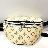 Женские сумки на пояс на 2отд. (беж принт)18*24см