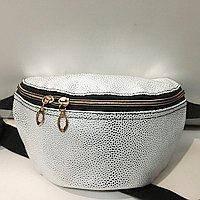 Женские сумки на пояс на 2отд. (серебро)18*24см, фото 1