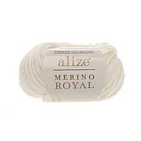 Alize Merino Royal (Ализе Мерино Рояль) молочный №62 (Пряжа, нитки для вязания), фото 1