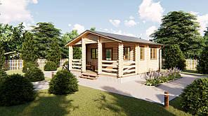 Деревянный дом для дачи 6х6 м из бруса с террасой в Украине. Кредитование строительства деревянных домов
