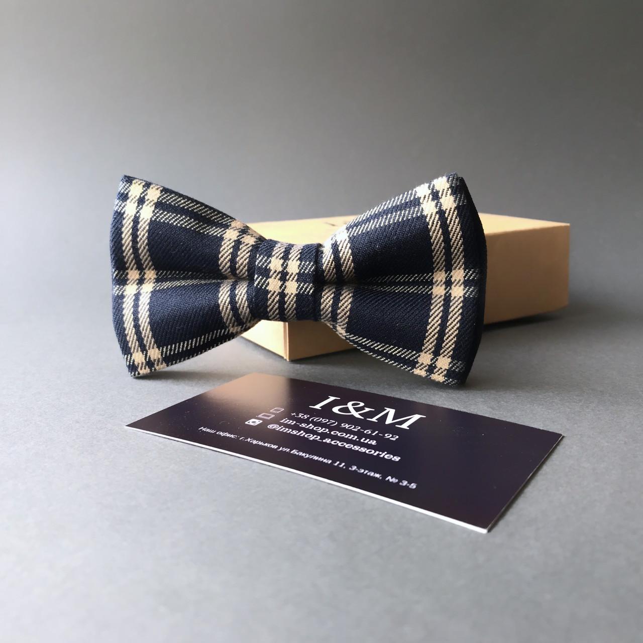 Краватка-метелик I&M Craft темно-синій в клітинку (010408)