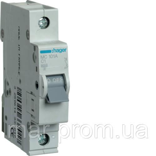 Автоматический выключатель 1P 6kA C-1A 1M